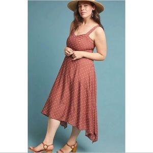 Anthro Maeve Brown Polka Dot Vivienne Maxi Dress